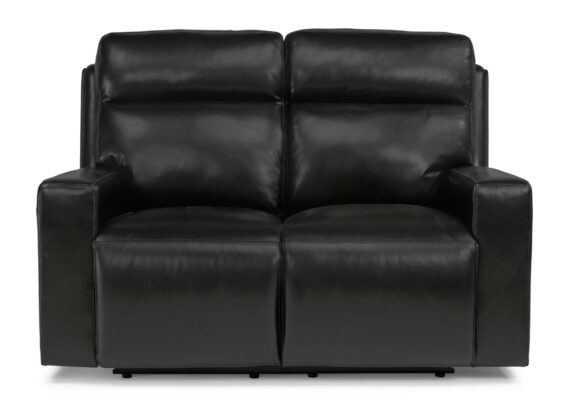 Flexsteel Niko Black Leather Power Headrest Loveseat