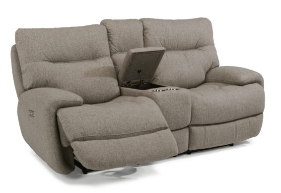 Flexsteel Power Headrest Console Loveseat
