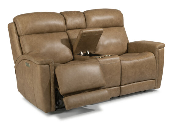 Flexsteel Power Headrest and Lumbar Console Loveseat