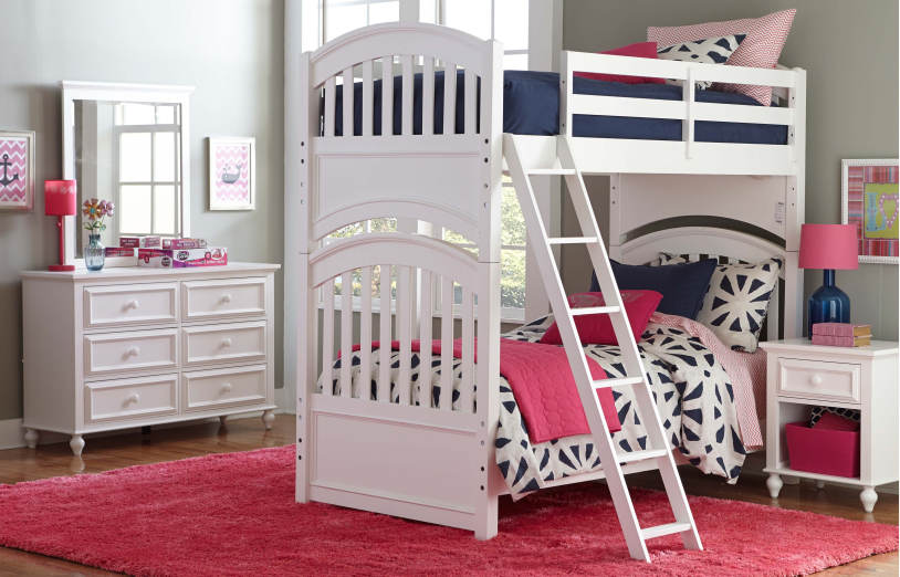 white bunk bed