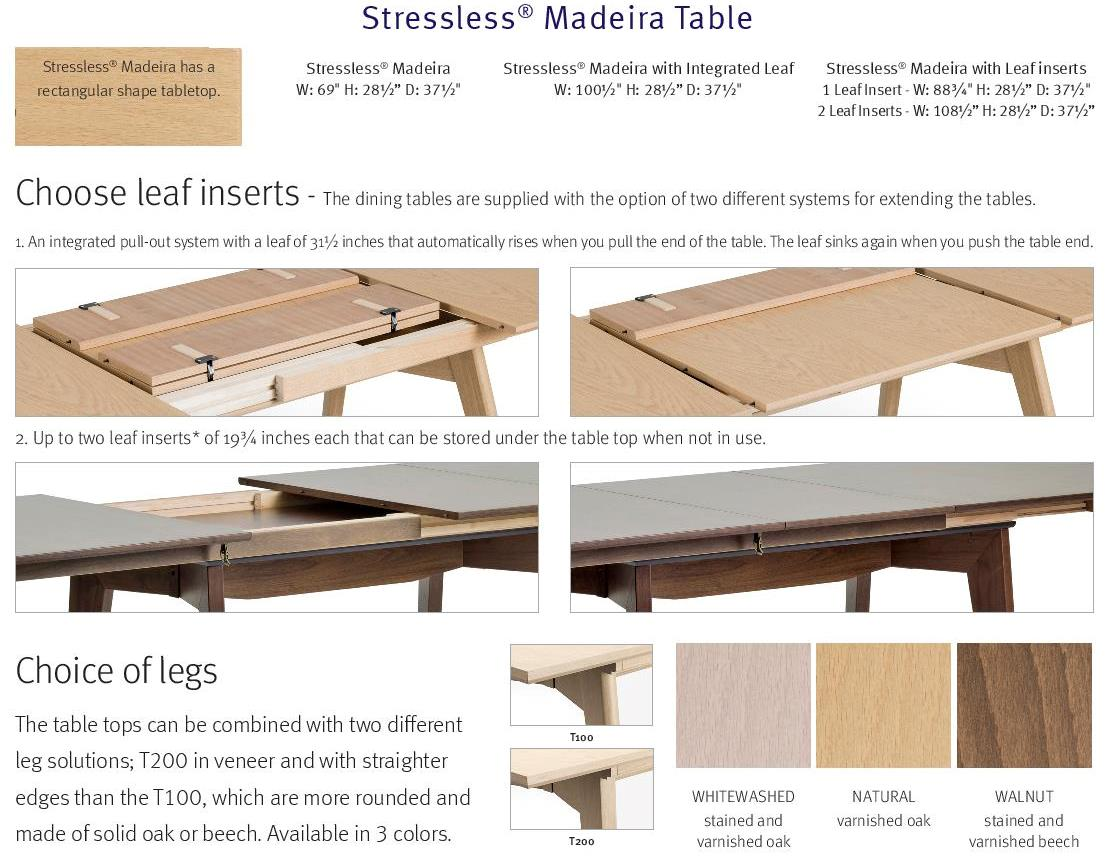 stressless madeira dining table