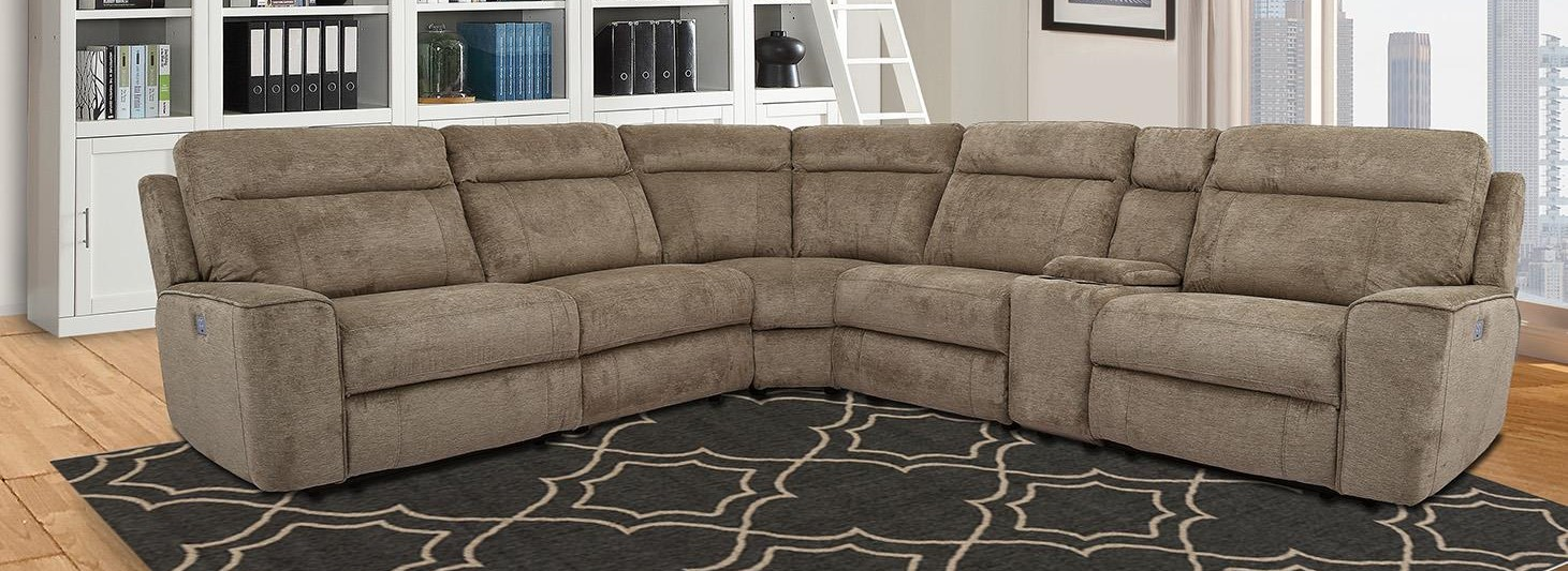 Heather Power Reclining Sectional with Power Headrest