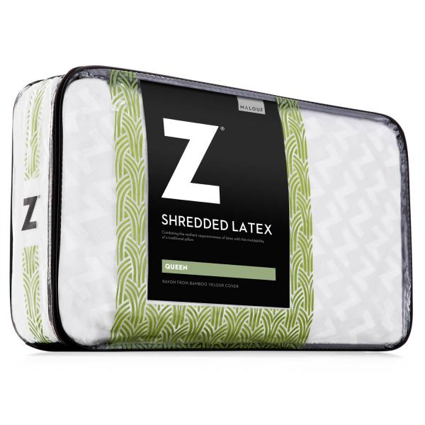 Malouf Shredded Latex Bamboo Cover Pillow Queen
