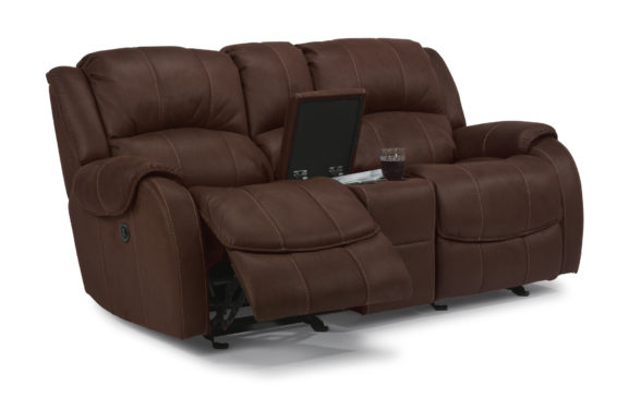 Flexsteel Power Reclining Console Loveseat