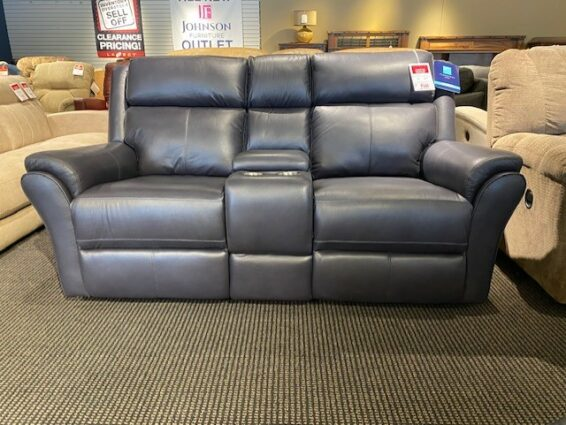 Flexsteel Leather Power Headrest Console Loveseat
