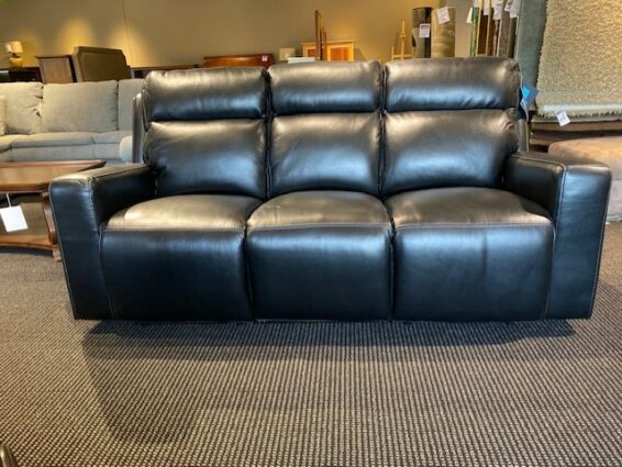 Flexsteel Niko Black Leather Power Headrest Sofa