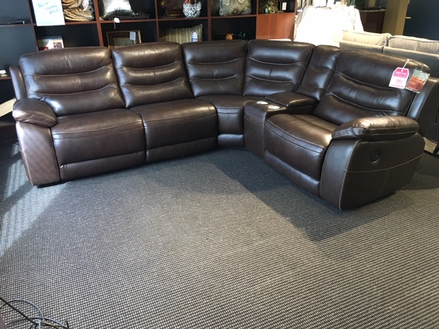 Clearance Leather Power Reclining Sectional Johnson
